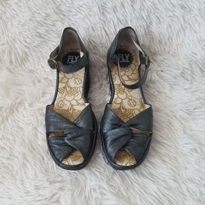 FLY London Leather Peep Toe Wedges, 37